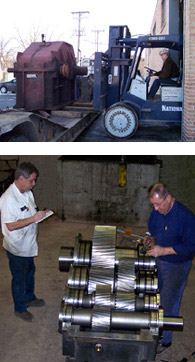 Large gearbox receiving and inspection